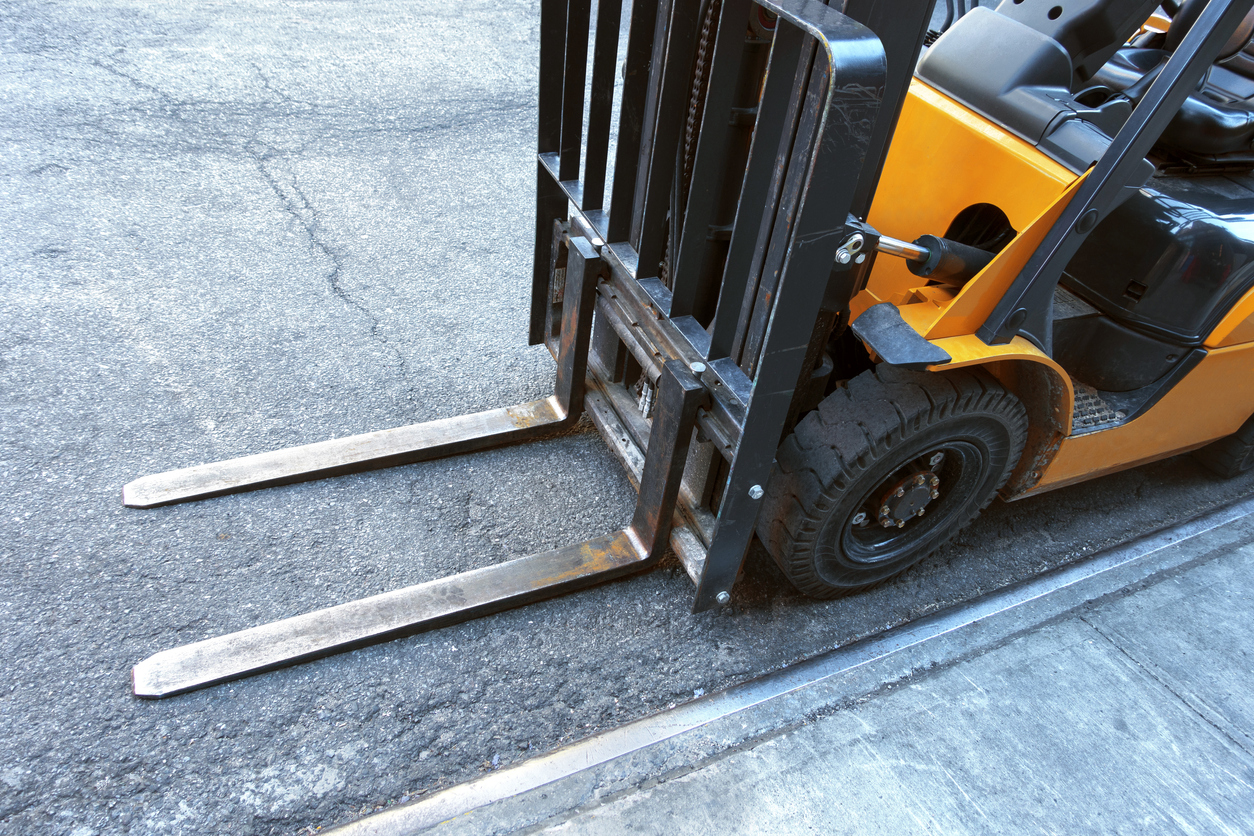 close up of fork lift blades